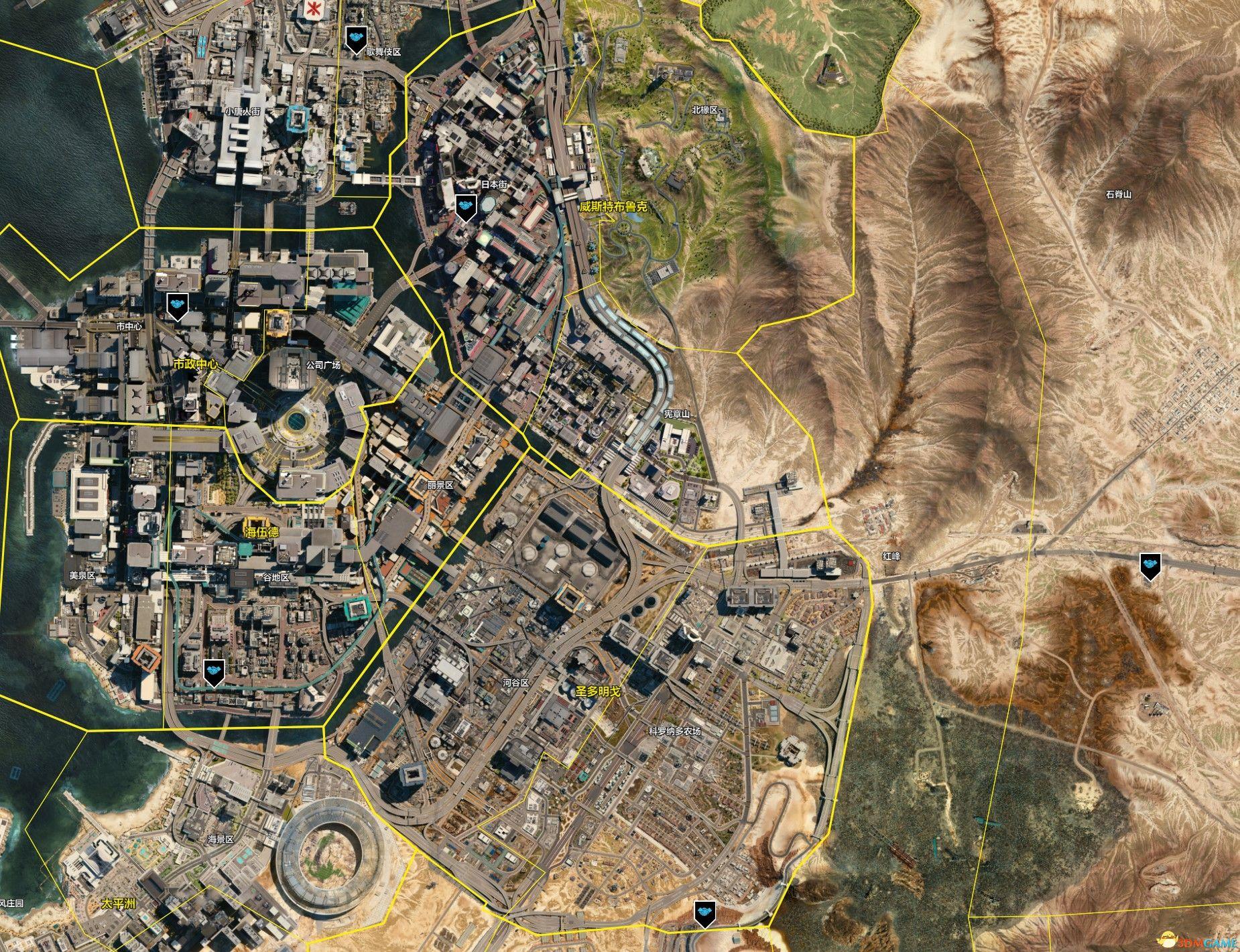 《赛博朋克2077》地图指引 重要地点收集标注地图
